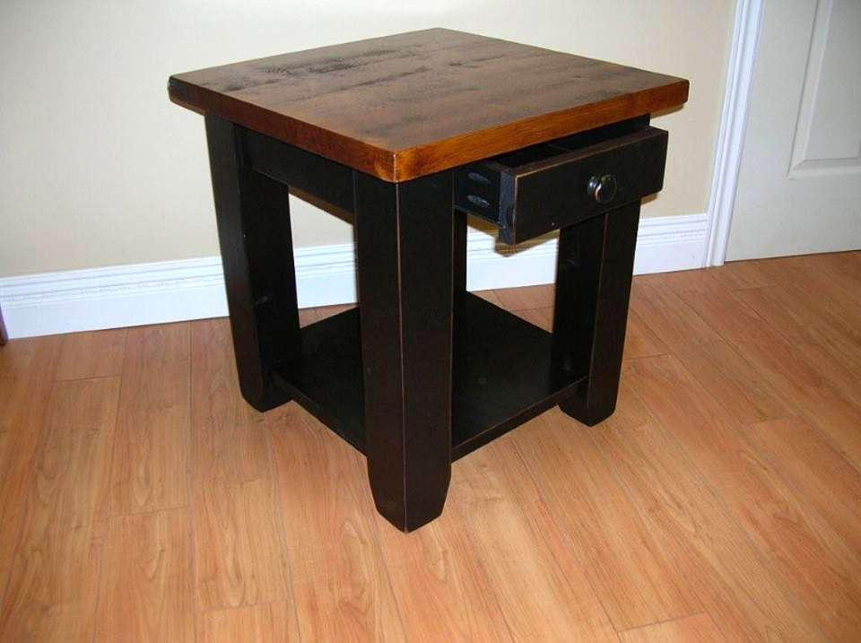 Rough Sawn Pine Table with Drawer & Bottom Shelf