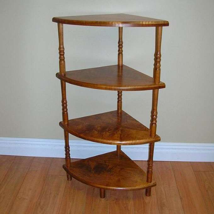 Solid Maple Corner Shelf Unit