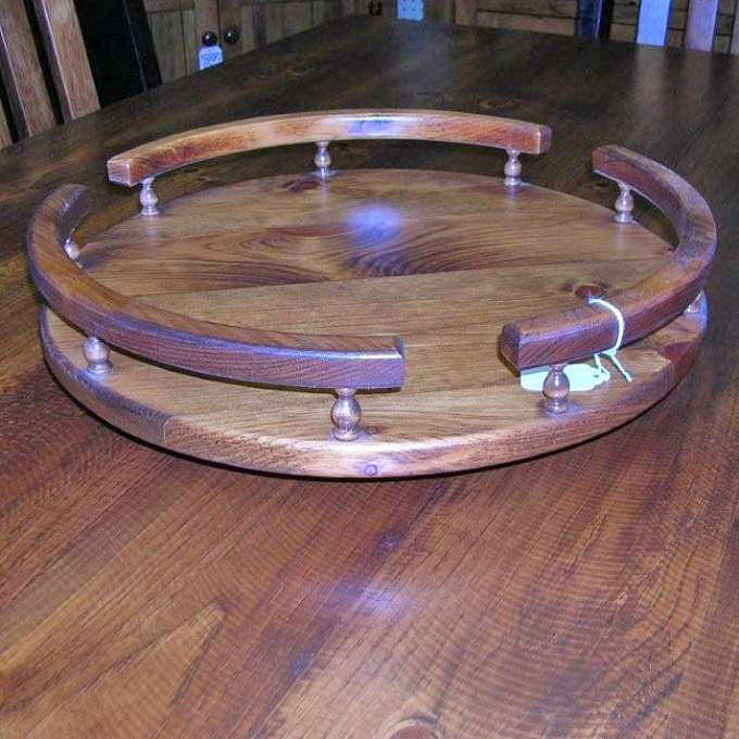 Pine Lazy Susan With Rail