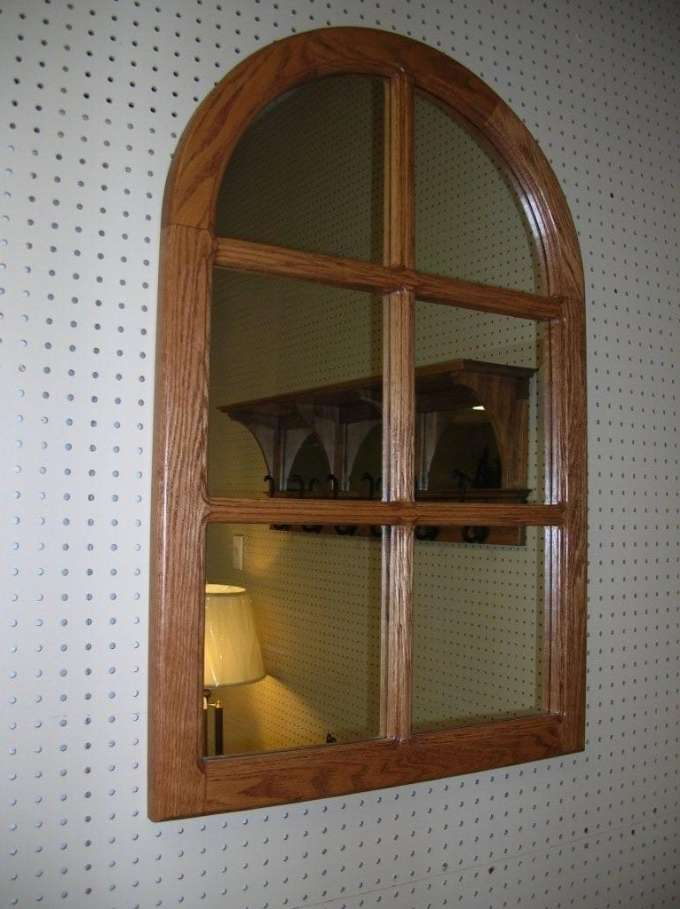 Oak Round Top Mirror