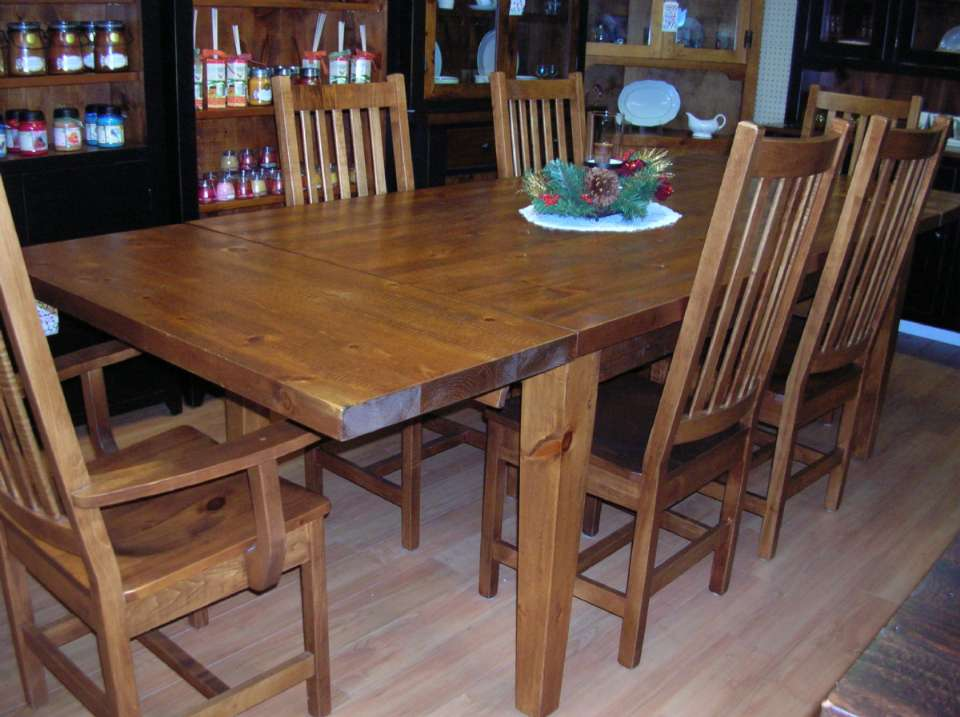 Rough Sawn Pine 7 Piece Harvest Dining Set