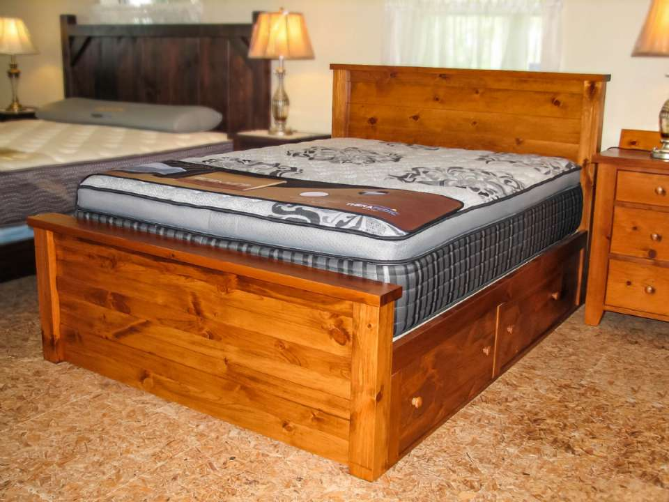 Pine Dakota Queen Size Bed with Storage Drawers
